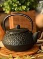 Bambum Taşev Linden - Yonca 800 ml Siyah Döküm Çaydanlık Renkli